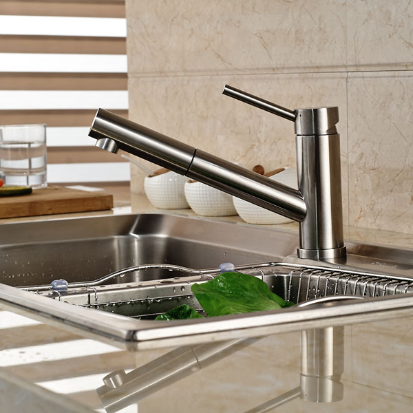 Contemporary Single Handle Pull Down Spray Kitchen Sink Faucet Pull Out Brushed Nickel Faucets