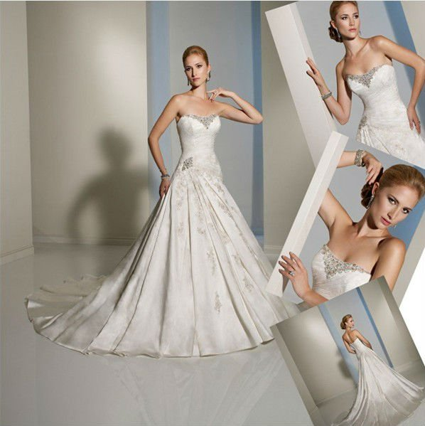 A Line Strapless Scoop Neck Bridal Dress White Ivory Satin