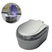 Mini Portable Car Ashtray Blue LED Light For Dashboard Cigar Cigarette Silver