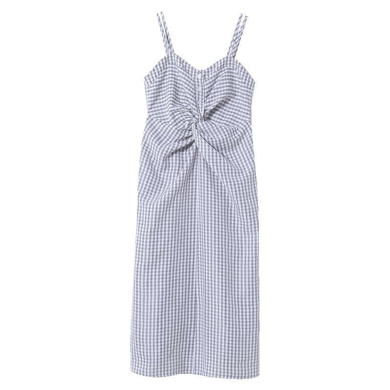 Mishow 2019 летнее сексуальное женское платье миди винтажное платье с открытыми плечами свободное без рукавов клетчатое платье на бретельках пляжное платье, сарафан MX19B1192