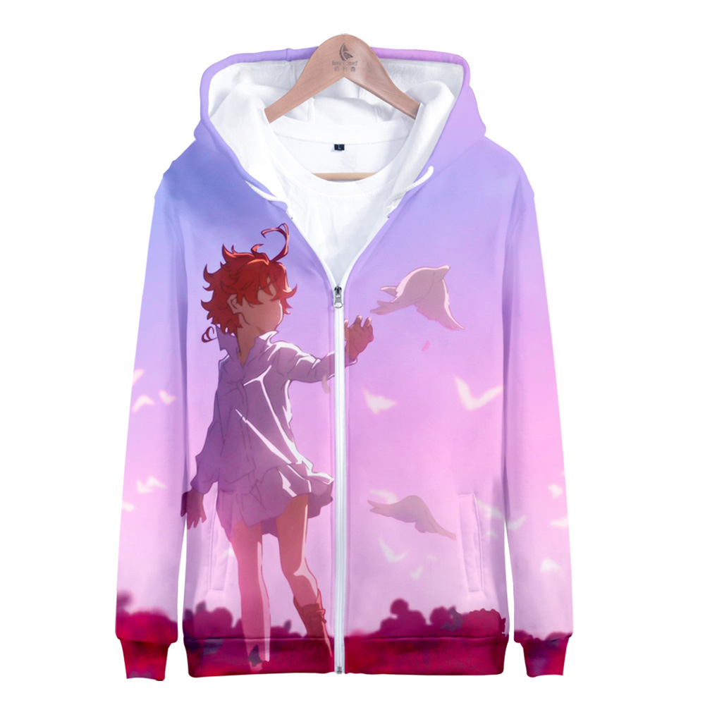 The Promised Neverland Emma Autumn And Winter Zipper Hooded Sweatshirt Unisex Parent-child Kingdom Hearts Couple Love