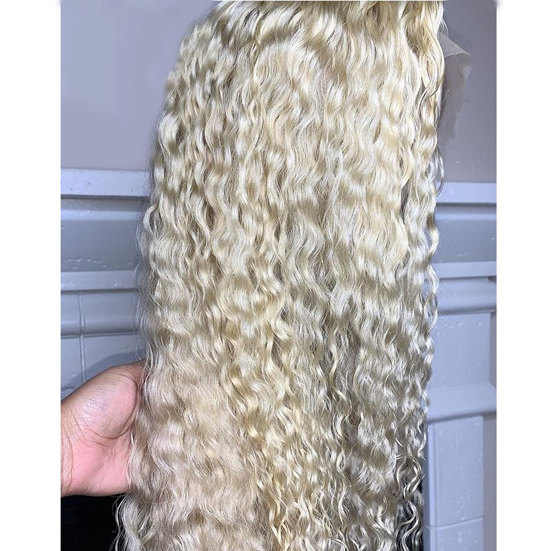 13x4 Curly 613 Blonde Lace Front Wig Black Women Preplucked Brazilian Transparent Water Wave Remy Lace Front Human Hair Wigs-in Human Hair Lace Wigs from Hair Extensions & Wigs    2
