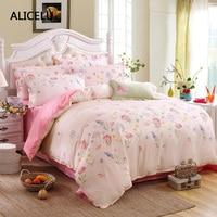 ALICELU Nieuwe Actieve Printing Hit Stiksels Roze 100% Katoen Thuis Volwassen Stijl Comfort Comfortabel Down Vier Sets Van Beddengoed