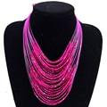 1 шт./лот Африканский бусины Neckalce Роза фиолетовый синий золотистый и черный Многослойные Заявление ожерелья для мужчин для женщин Nc1003 - фото