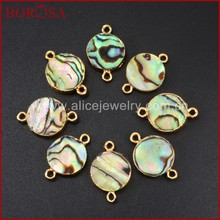 HOT 10pcs 12mm Gold plated Round Shape Natural Druzy Pearl Shell and Abalone Shell Pendant Gem stone Connector Beads,Jewelry findings