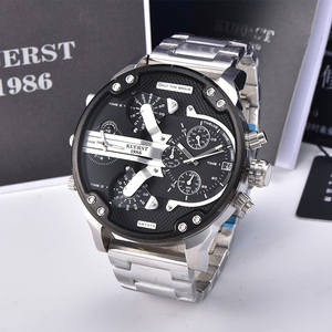 Image 1 - 2019  New Mens Large Dial Sports Watch Multi time Zone Display Military Watch Men Luxury Brand KUERST Waterproof Quartz Watch