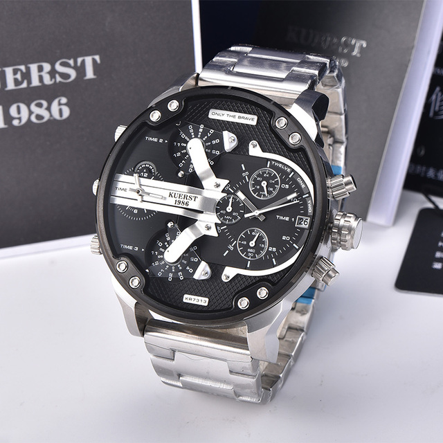 2019  New Mens Large Dial Sports Watch Multi time Zone Display Military Watch Men Luxury Brand KUERST Waterproof Quartz Watch