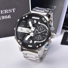 2019 nouveau hommes grand cadran montre de sport multi fuseau horaire affichage montre militaire hommes de luxe marque KUERST étanche montre à Quartz