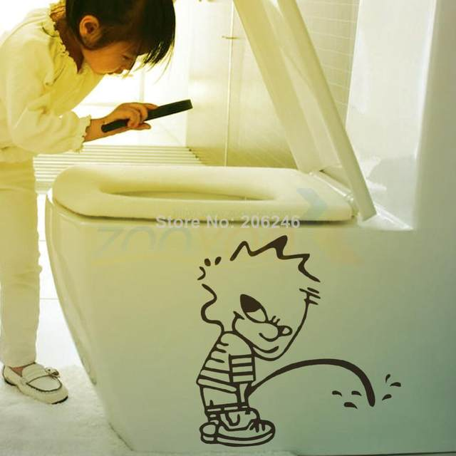 Online Shop Peeing Boy Toilet Stickers Vinyl Wall Art Home Decals ...