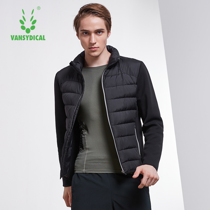 SPT Vansydical Winter Warm Sports Down Coat Men's Stand Collar Windproof Sportswear Tops Fitness White Duck Down Running Jackets
