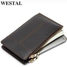 WESTAL мужской кошелек короткие маленькие карточные кошельки Чехол-кошелек для телефона мужские кожаные кошельки с держателем для монет мужские короткие дизайнерские портмоне мужской