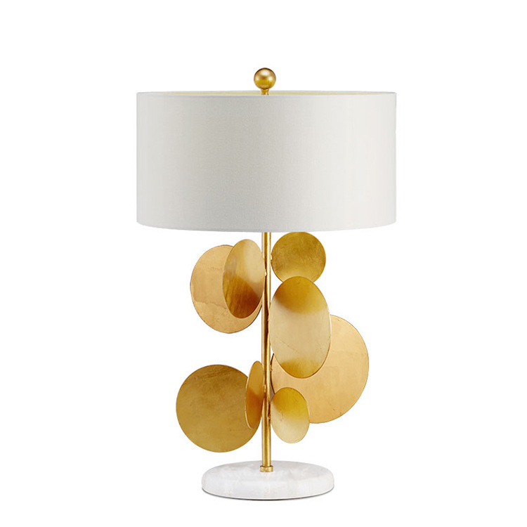 Modern Metal Gold Leaf Creative Living Room Bedroom Interior Table Lamp Lamps for  Home Deco