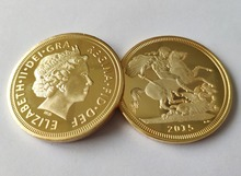 UK 2015 British Sovereign Coin, St George slaying Dragon Reverse GOLD CLAD COIN, Metal coins free shipping 10pcs/lot