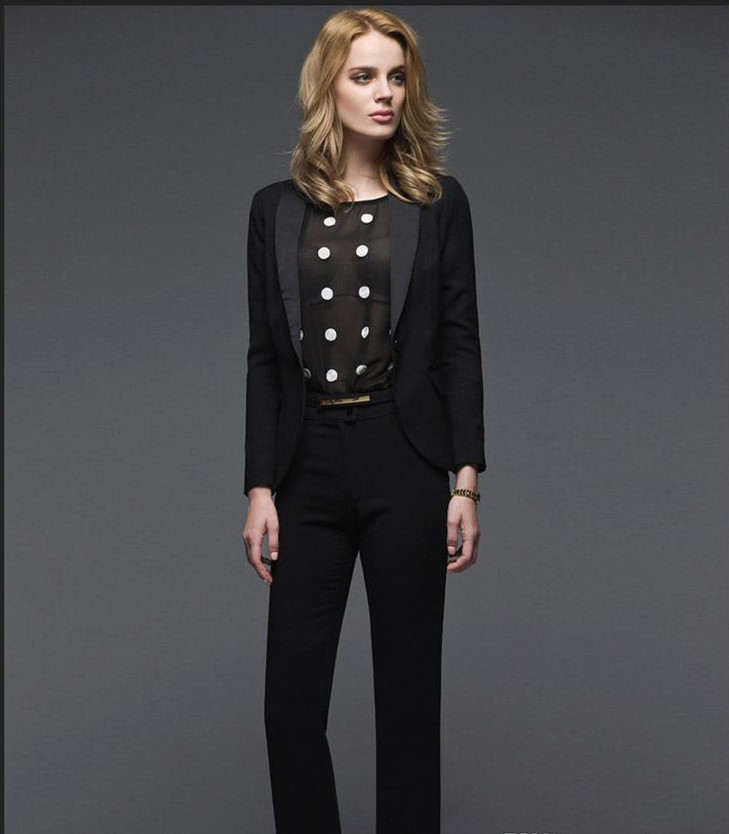 New arrivals Early Autumn New OL Business suits Custom made Black long-sleeved pants suit Jacket +Pants