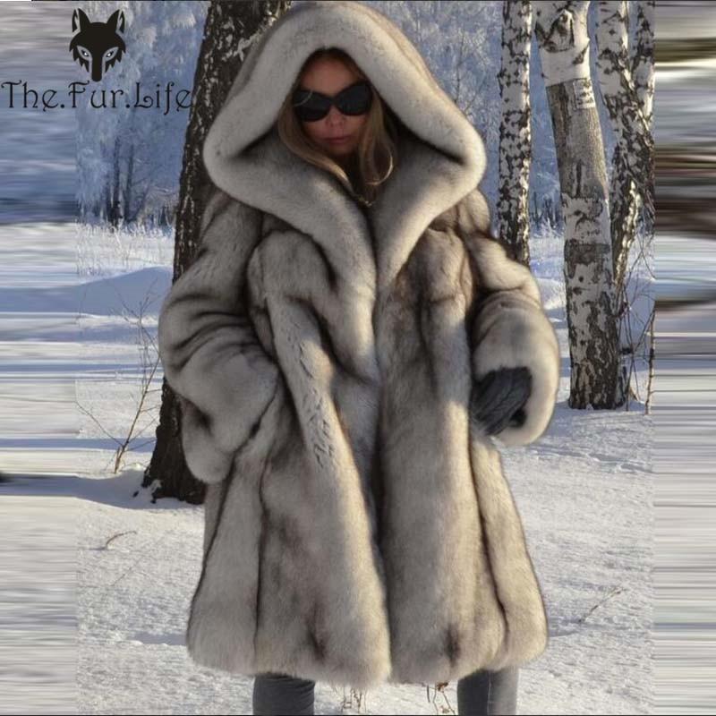 2018 натуральный Лисий мех пальто с капюшоном женская меховая куртка зима натуральный свободный Лисий Мех Воротник теплая длинная Повседнев...