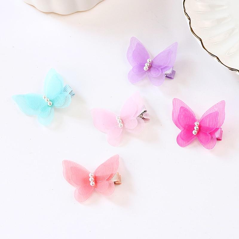 2018 New Lovely Girls Colourful Chiffon Butterfly Pearl Hairpins Princess Hair Clip Barrettes Children   Headwear   Hair Accessories