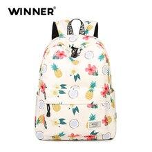 Победитель женщины рюкзак для школы для девочек-подростков мальчиков сумки Ананас милый Back Pack Холст печати рюкзаки Mochila fi
