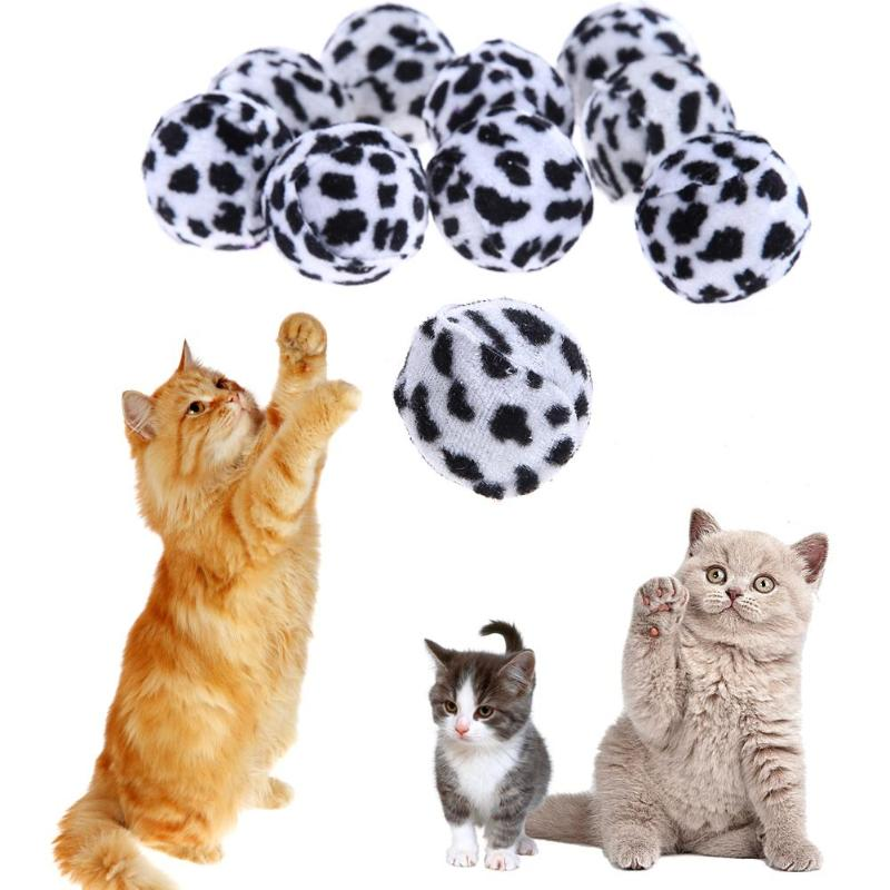 12Pcs/lot Pet Cat Toy Leopard Print Patches Cat Catch Ball Bite Resistant Interactive Playing Sound Toy for Cat Kitten Products
