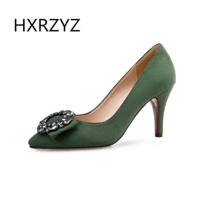 HXRZYZ Large size spring and autumn new fashion shoes women pointed toe thin heels women sexy shoes red bottom green high heels 8cm 2015 spring and autumn single shoes cutout hasp pointed toe high heels ol thin female fashion sandals