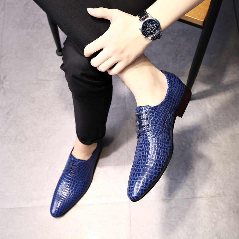 M-Anxiu Nam Thời Trang Mũi Nhọn Phối Ren Giày Da Sáng Kinh Doanh Phục Thường Ngày Giày Cưới Size 38 -48