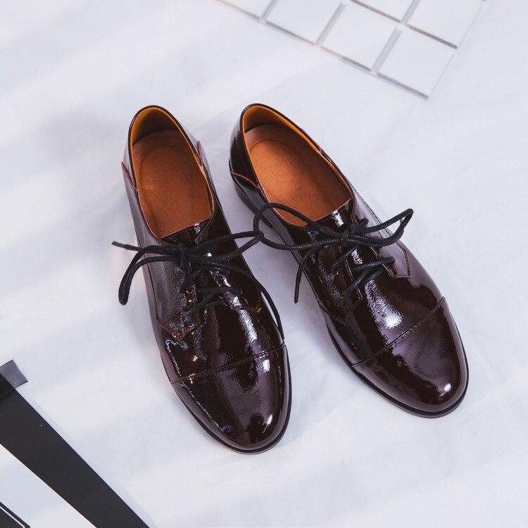 Mulheres Flats 2019 Couro Genuíno Estilo Britânico Sapatos Oxford Mulheres Oxfords Primavera Calcanhar Plana Sapatos Casuais Rendas Até As Mulheres Sapatos - 3