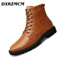 DXKZMCM Autumn Winter Men Boots Vintage Style Casual Men Shoes Lace Up Warm Martin Boots big size 38 47