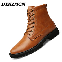 DXKZMCM Autumn Winter Men Boots Vintage Style Casual Men Shoes Lace-Up Warm Martin Boots big size 38-47