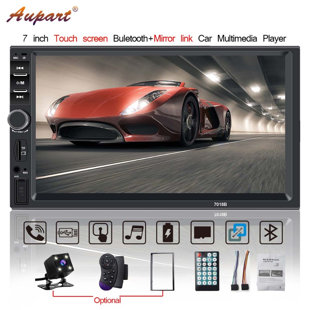 "car radio 2din coche radios bluetooth 7"" Screen multimidia 7018b Stereo 2 din Frame with rear view camera HD mp5 player mirror-in Car Multimedia Player from Automobiles & Motorcycles"