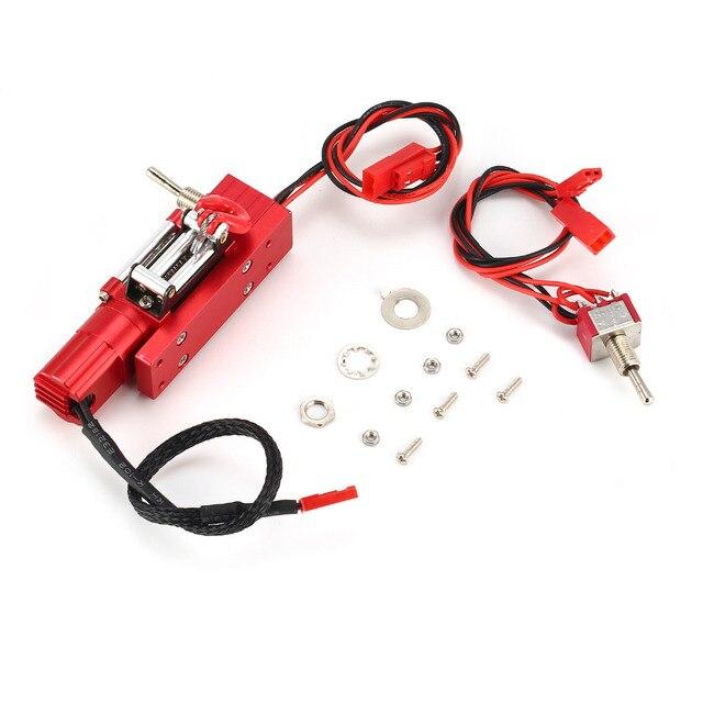 Cabrestante simulado automático con cable de acero metálico, con interruptor para JEEP CC01 Axial SCX10 RC4WD D90 1/10