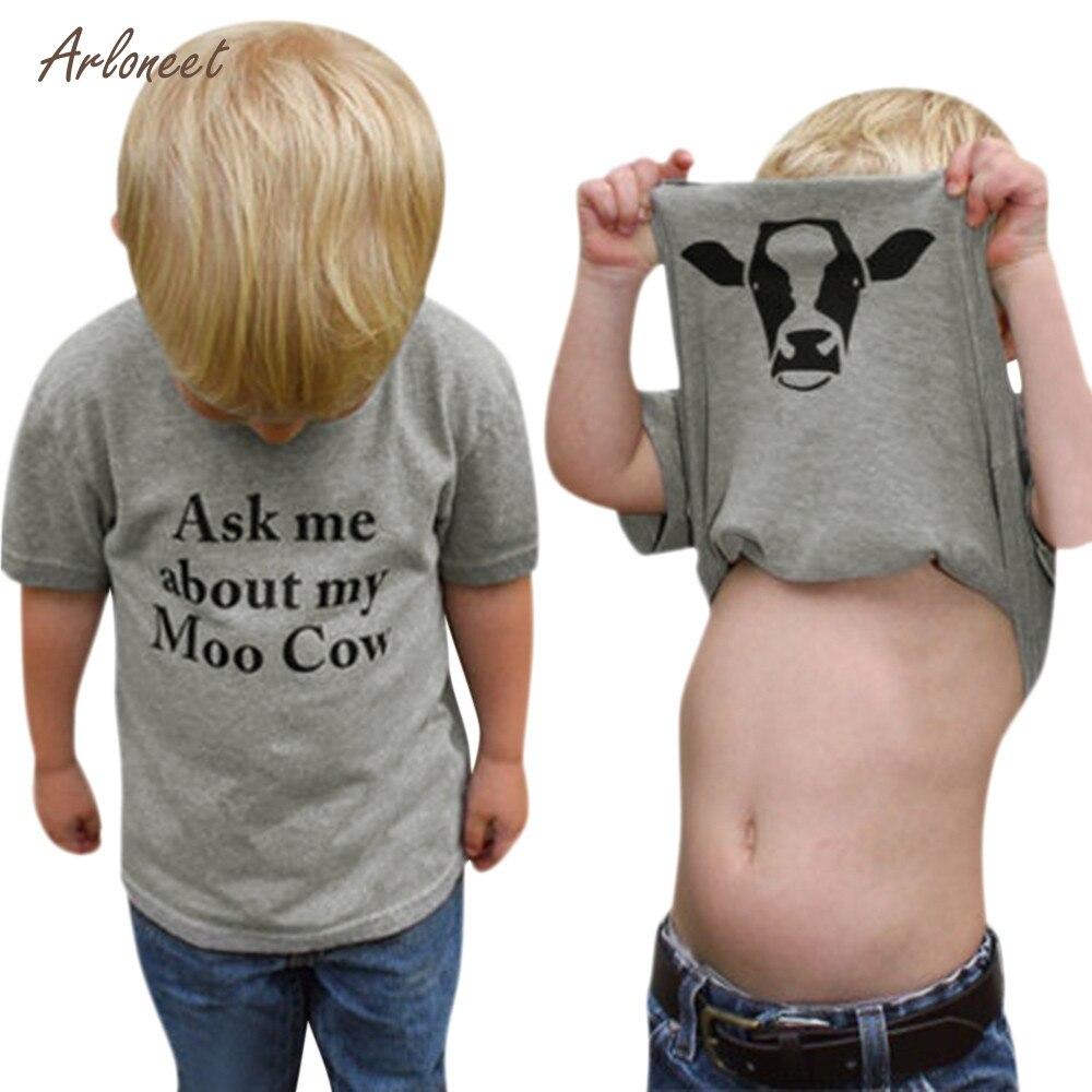 Kids Children Baby Girls Boys Cow Inside Letter Soft Tops Cute T-Shirt Clothes _Apr17