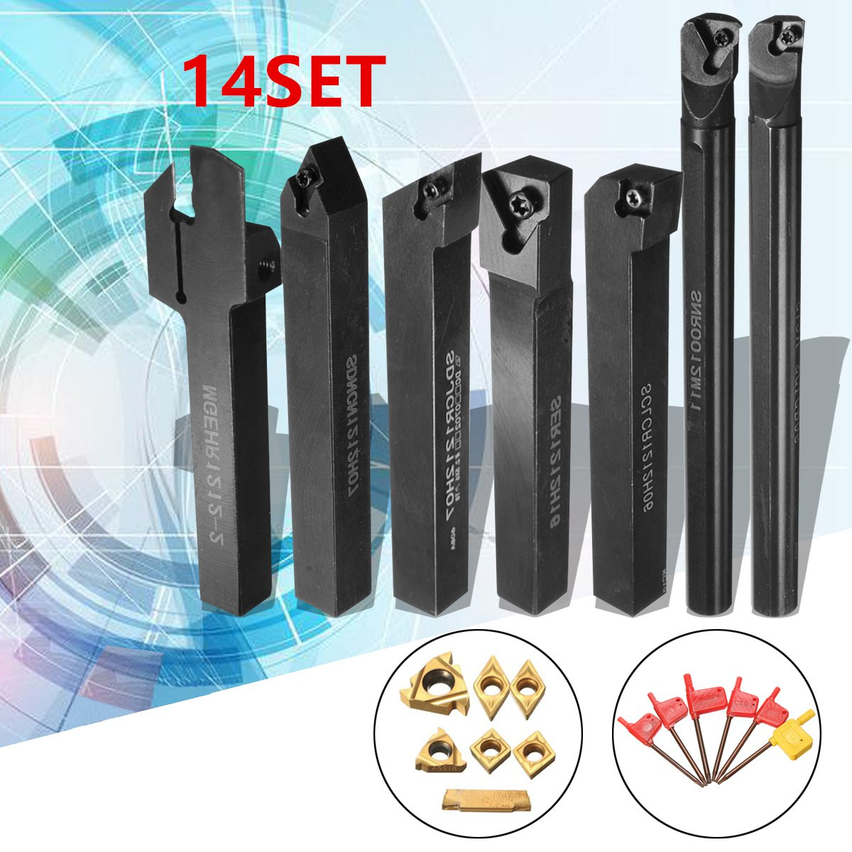 12mm 21 pçs/set Shank Torno Virando Ferramenta Chato Titular Bar + Insert + Chave S12M-SCLCR06/SER1212H16/SCL1212H06