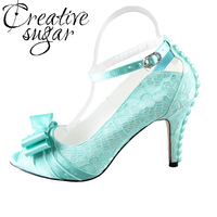 Handmade Light Mint Green Lace Satin Bow Heel Wedding Party Prom Pumps With Pearls On The