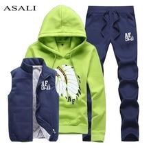 Комплект из трех флис костюм Для мужчин осень/зима теплый костюм Для мужчин костюм комплект куртка жилет Брюки для девочек Для мужчин пот Homme Спортсмен носить