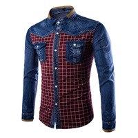 New Fashion Jeans Patchwork Mens Shirt Plaid Style Long Sleeve Korean Slim Fit Denim Shirts Male
