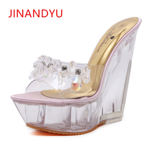 цены на Crystal Women14CM High Heel Slippers Wedge Platform Heels Sapatos Feminino Transparent Sandals Wild Summer Nightclub Sexy Mules  в интернет-магазинах