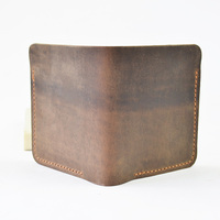 Handmade Brief Top Layer Cow Leather Mens Wallet Leather Genuine Vintage Mens Leather Wallets for Money and Cards