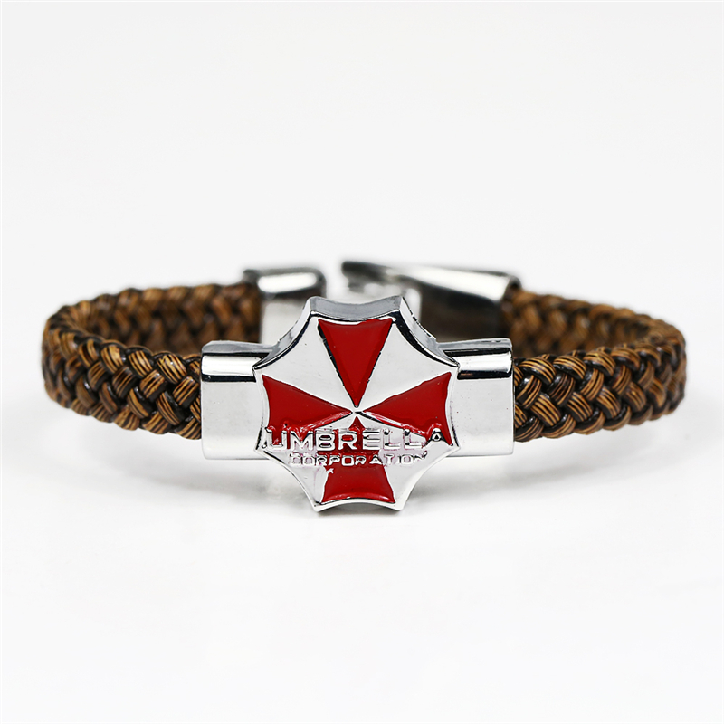 J Store Anime Movie Resident Evil Titans Souvenir Red Umbrella Logo Bracelets Men Jewelry Woven Leather Chain Bracelet Bangles