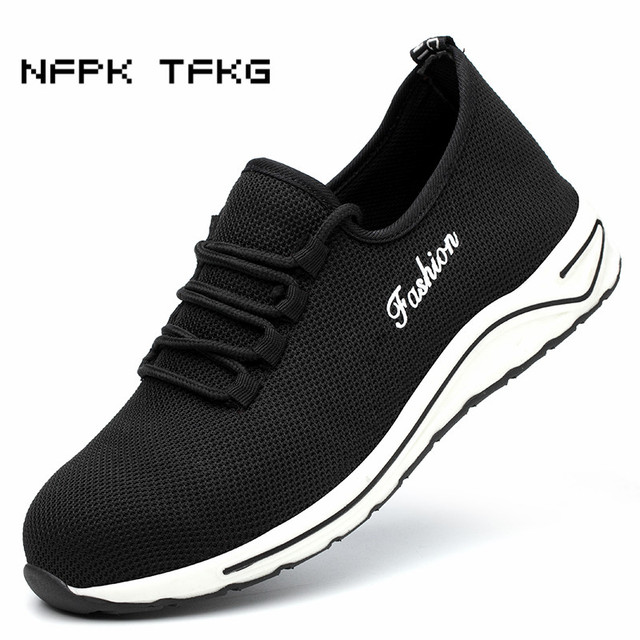 large size mens fashion breathable mesh steel toe caps work safety shoes very light tooling security low boots worker dress male