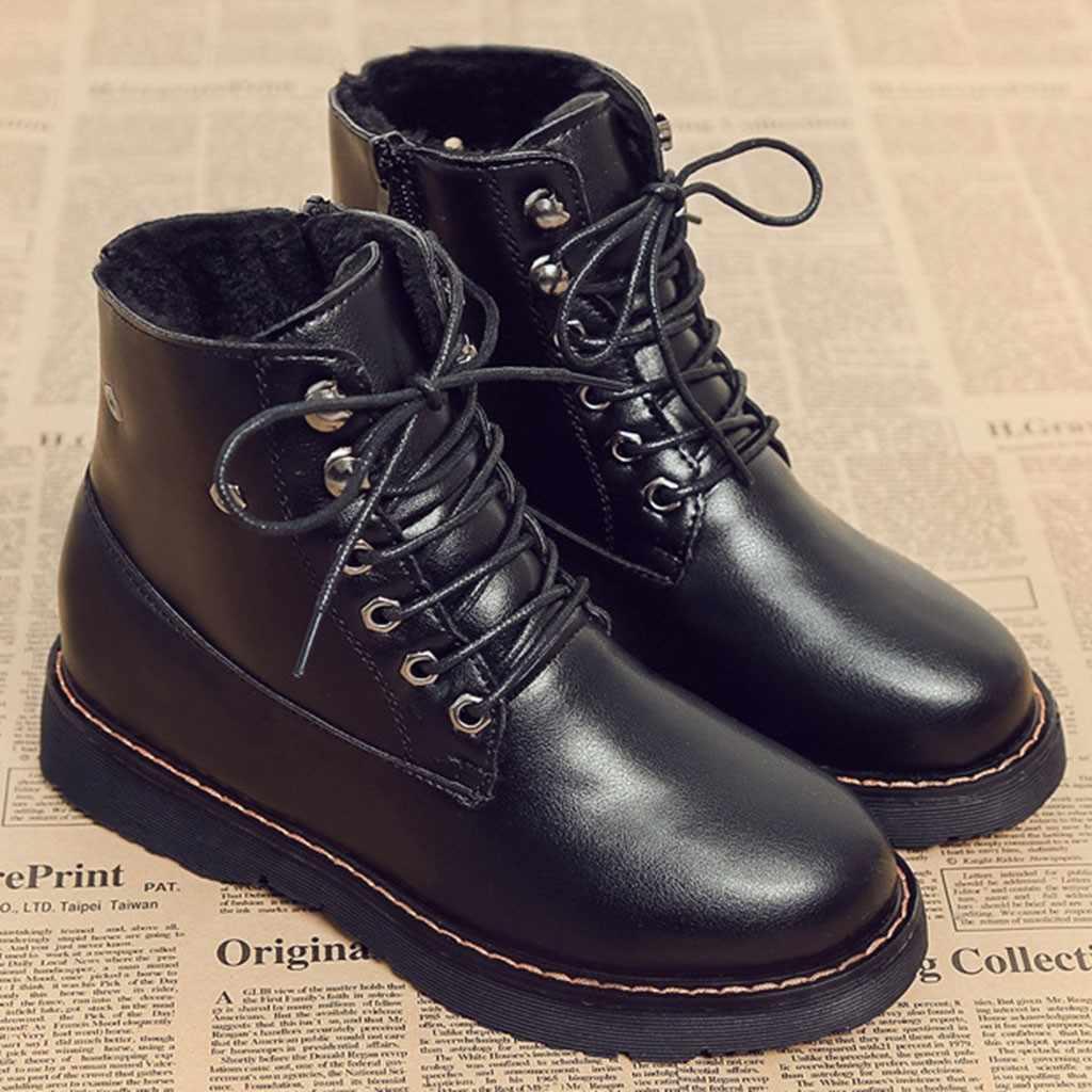 Ilkbahar sonbahar dantel-up yumuşak kadın moda ayakkabılar klasik serin Zip sansar dikiş ayak bileği yumuşak bot ayakkabı 30 Drop shipping