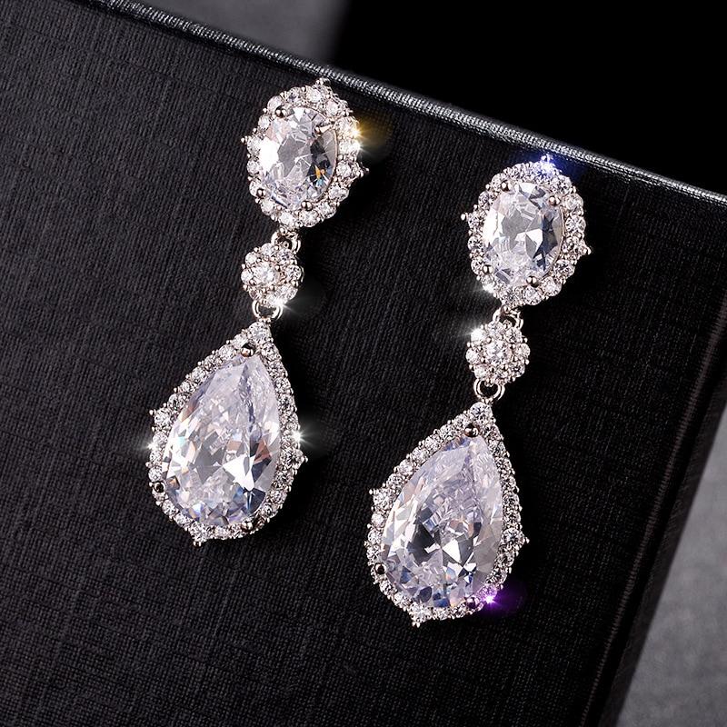 Luxury Cubic Zircon Crystal Pendant S925 Drop Earrings 925 Sterling Silver Dangle Diamond Women OL Elegant Long Wedding Earrings