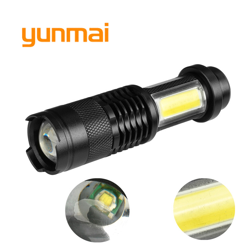 3800LM XML-Q5+COB LED Flashlight Portable Mini ZOOM torchflashlight Use AA 14500 Battery Waterproof in life Lighting lantern M14 litwod z501516 led mini flashlight led cob waterproof aluminum 1 mode torch use 14500 or aa battery for camping working lantern