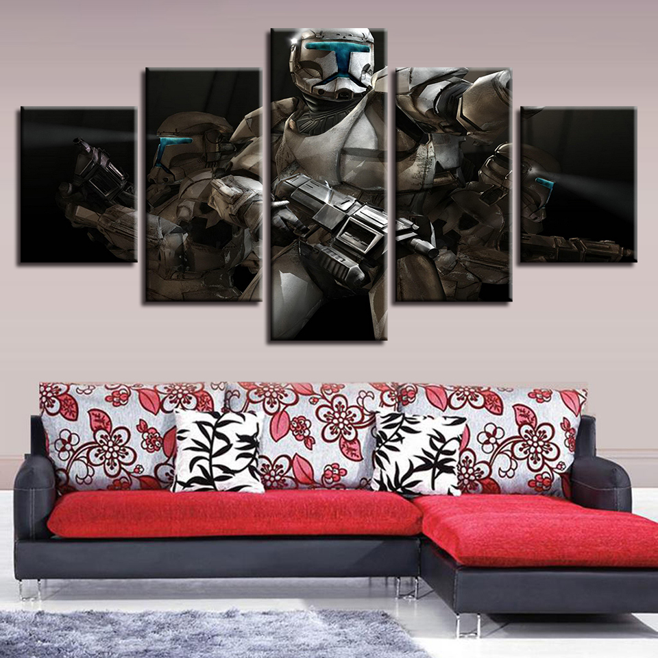 Home Decor Canvas Abstract Decorative Wall Art Framework 5 Panel Star Wars Clone Game Paintings Modern Modular Pictures