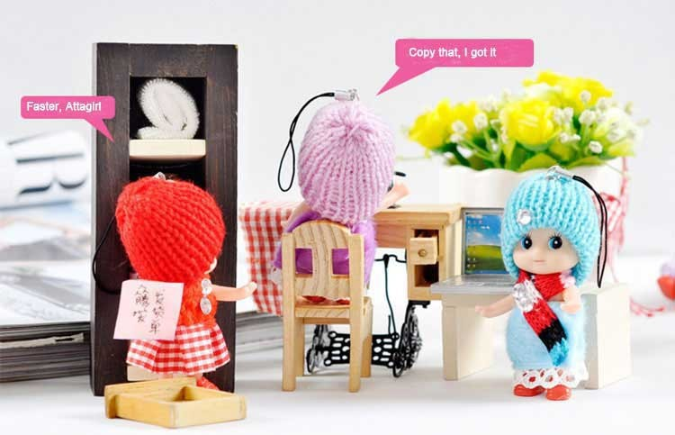 Mini Kids Toy Interactive Baby Dolls Toy Mini Doll Mobile Phone Accessory