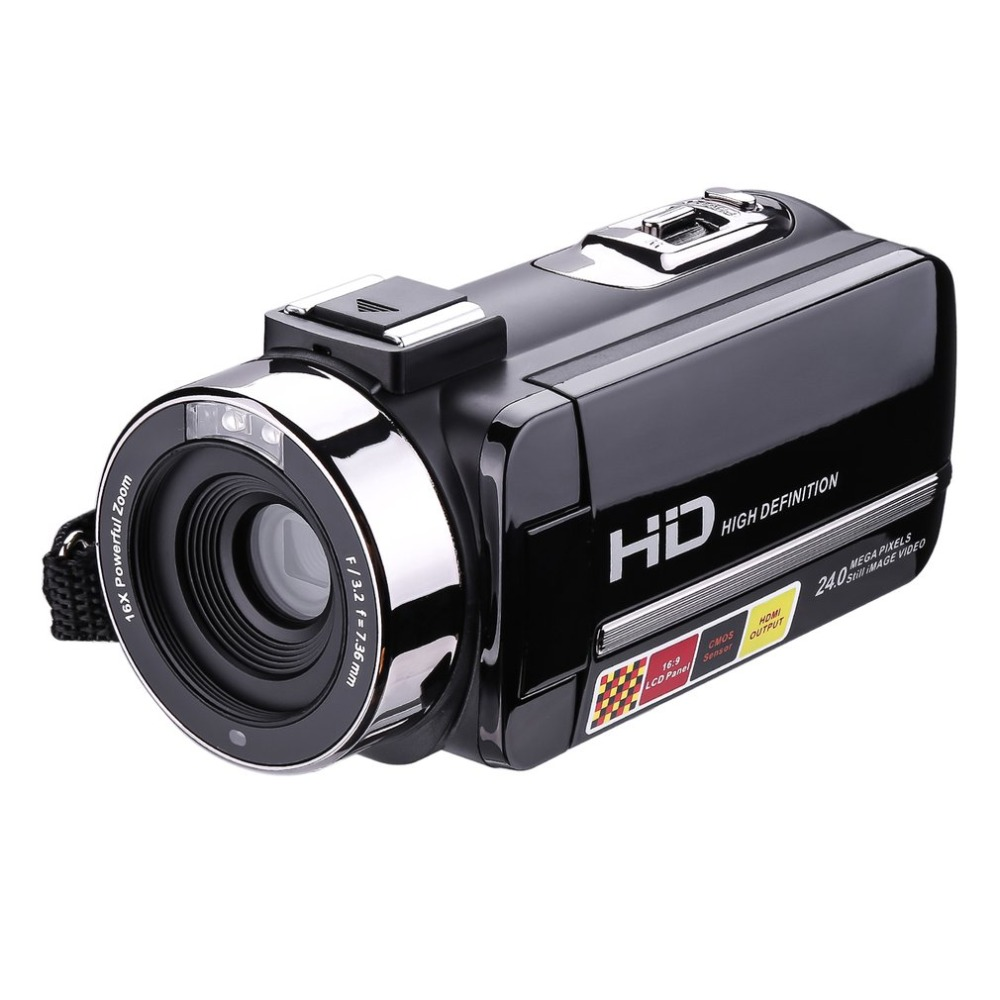 HDV-302P 3.0 Inch LCD Screen Full HD 1080P 24MP 16X Digital Zoom Anti-shake Digital Video DV Camera Camcorder alloyseed 2 7 inch digital camera 8x optical zoom lens 24mp hd children camcorder video recorder anti shake photo dv
