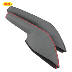 PONSNY Car Handbrake Covers Case for Mazda 2 2007-2012 Auto Handbrake Grips Genuine Leather Black/Red lines