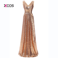 Under70 Cheap Rose Gold Sequined Long Bridesmaid Dresses Sexy V Neck Pleated Backless Formal Dress Party