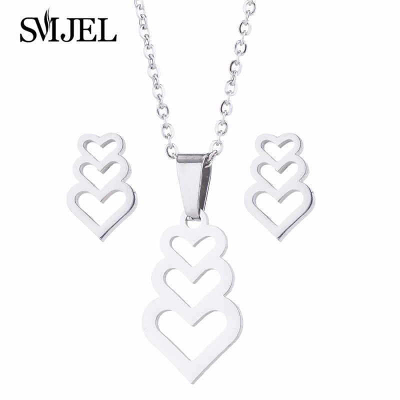 SMJEL femmes coeur bijoux ensembles cadeaux fille creux coeur collier boucles d'oreilles mode indien mariage femmes accessoires amitié