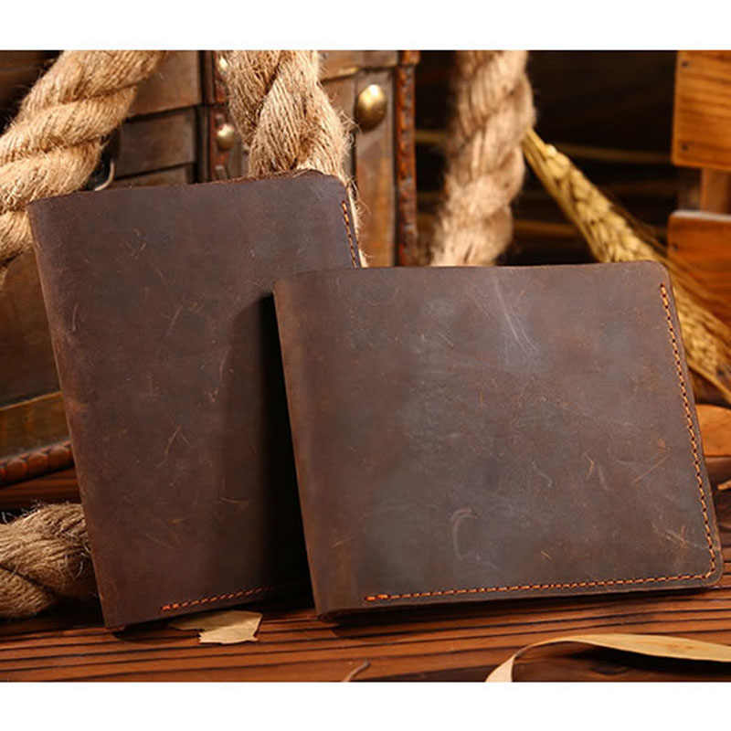 THINKTHENDO Vintage Men Crazy Horse Leather Bifold Wallet Genuine Leather Wallet Card Holder