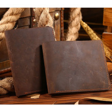 THINKTHENDO Vintage Men Crazy Horse Leather Bifold Wallet Genuine Card Holder