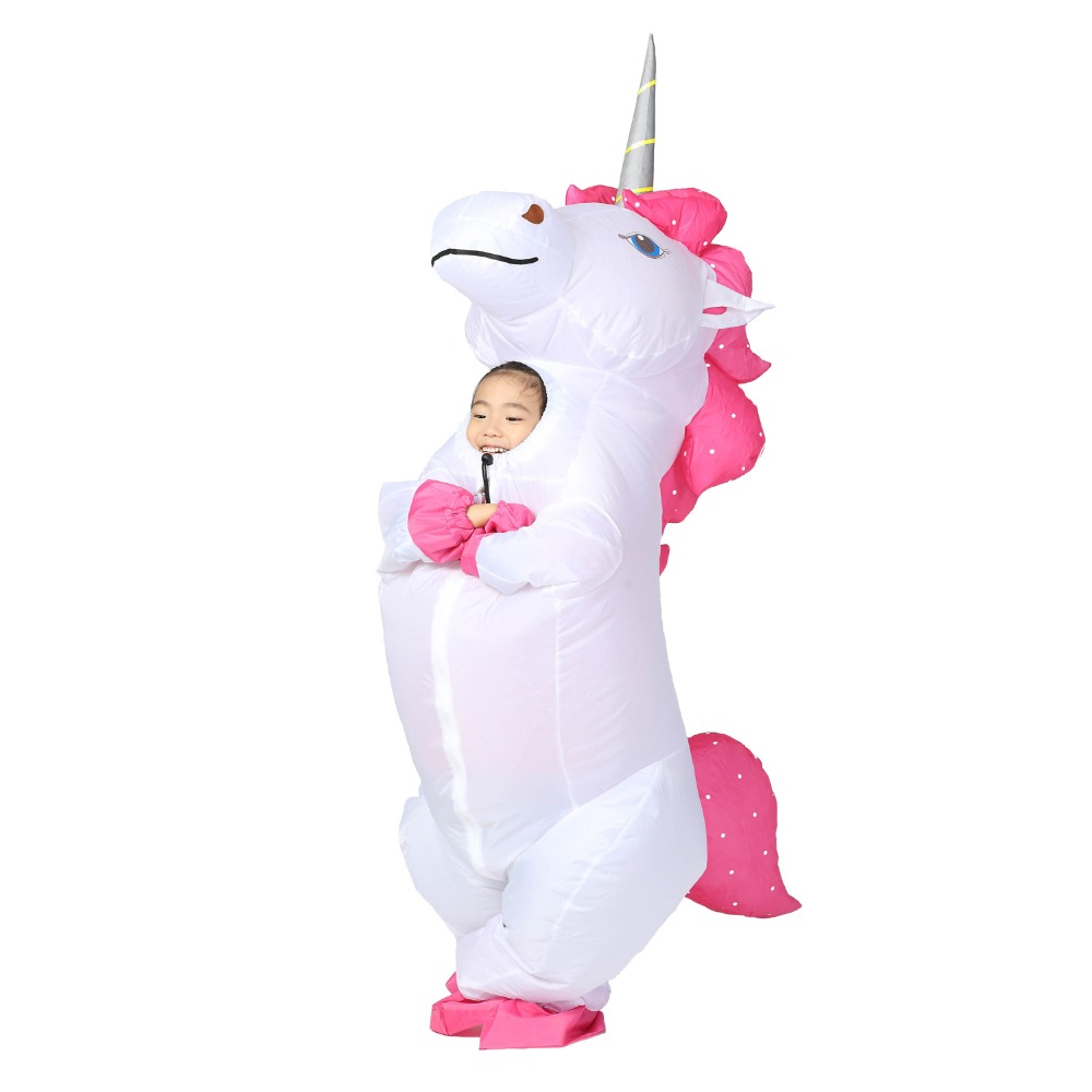 Rainbow Unicorn Adult Kids Inflatable Costume Pony Halloween Costumes for Women Men Cosplay Fantasia Party Inflatable Suit Jumps